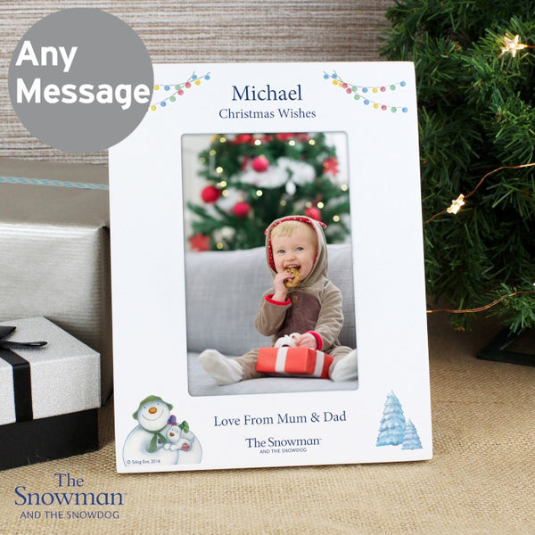 Personalised The Snowman and the Snowdog White 4x6 Photo Frame