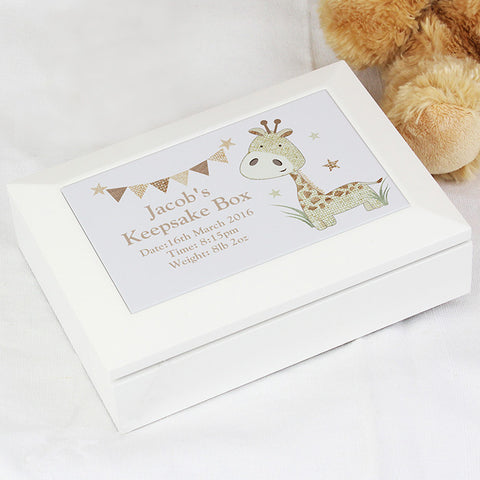 Buy Personalised Hessian Giraffe Wooden Jewellery Box