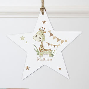 Personalised Hessian Giraffe Wooden Star Decoration