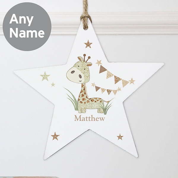 personalised-hessian-giraffe-wooden-star-decoration
