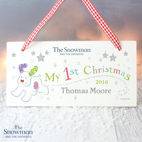 Personalised The Snowman and the Snowdog My 1st Christmas Wooden Sign