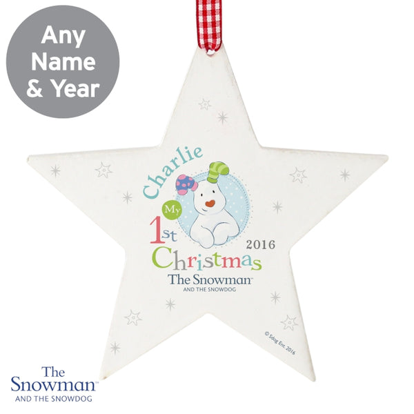 personalised-the-snowman-and-the-snowdog-my-1st-christmas-blue-wooden-star-decoration