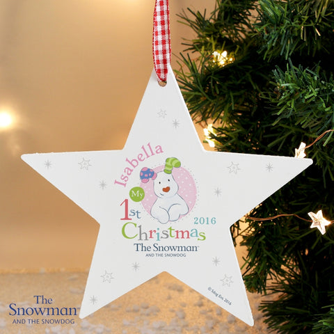 Buy Personalised The Snowman and the Snowdog My 1st Christmas Pink Wooden Star Decoration