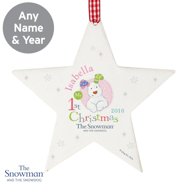 personalised-the-snowman-and-the-snowdog-my-1st-christmas-pink-wooden-star-decoration