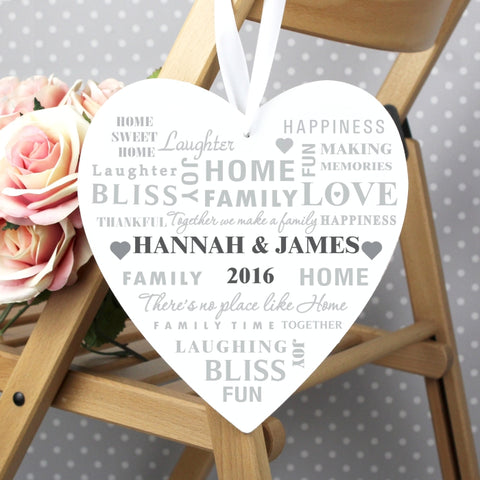 Buy Personalised Family Typography Large Wooden Heart Decoration
