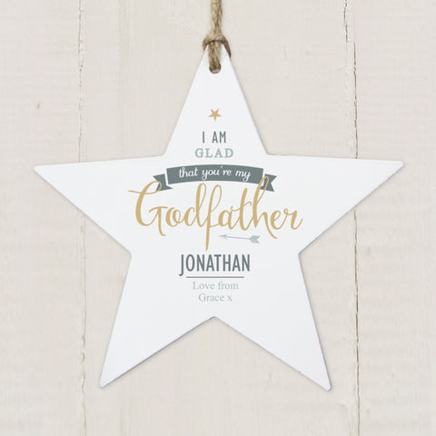 Buy Personalised I Am Glad... Godfather Wooden Star Decoration