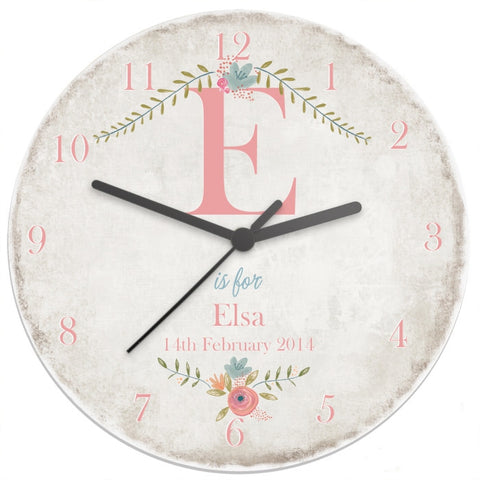 Buy Personalised Floral Bouquet Shabby Chic Large Wooden Clock