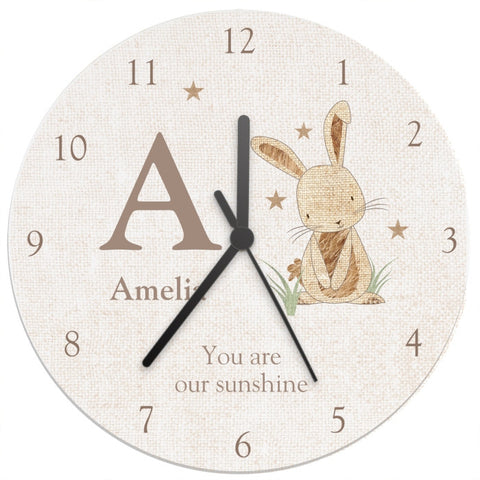 Buy Personalised Hessian Rabbit Shabby Chic Large Wooden Clock