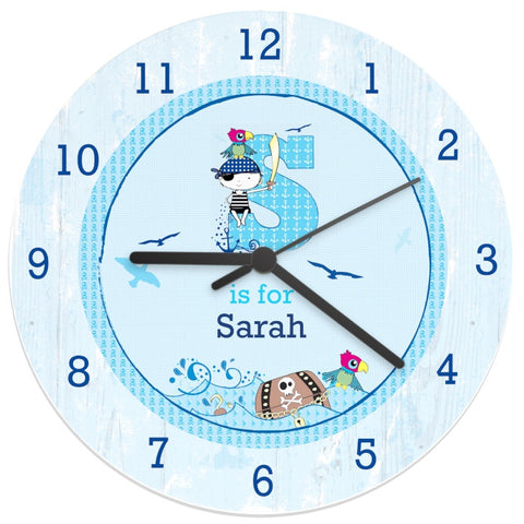 Buy Personalised Pirate Shabby Chic Large Wooden Clock