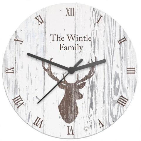 Buy Personalised Highland Stag Shabby Chic Wooden Clock
