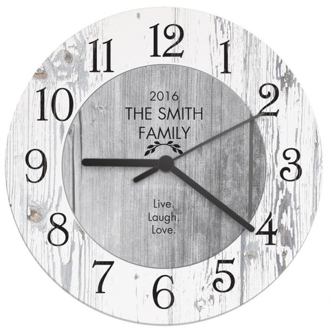 Buy Personalised Any Message Shabby Chic Large Wooden Clock