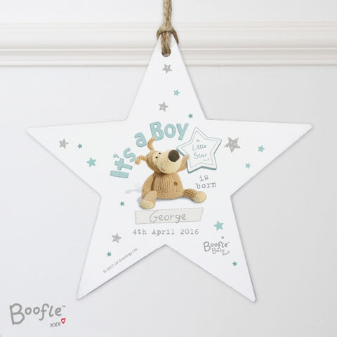 Personalised Boofle Its a Boy Wooden Star Decoration | ShaneToddGifts.co.uk