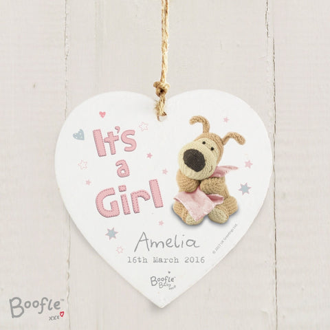 Personalised Boofle It's a Girl Wooden Heart Decoration | ShaneToddGifts.co.uk
