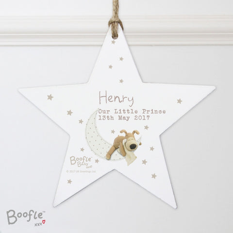 Buy Personalised Boofle Baby Wooden Star Decoration