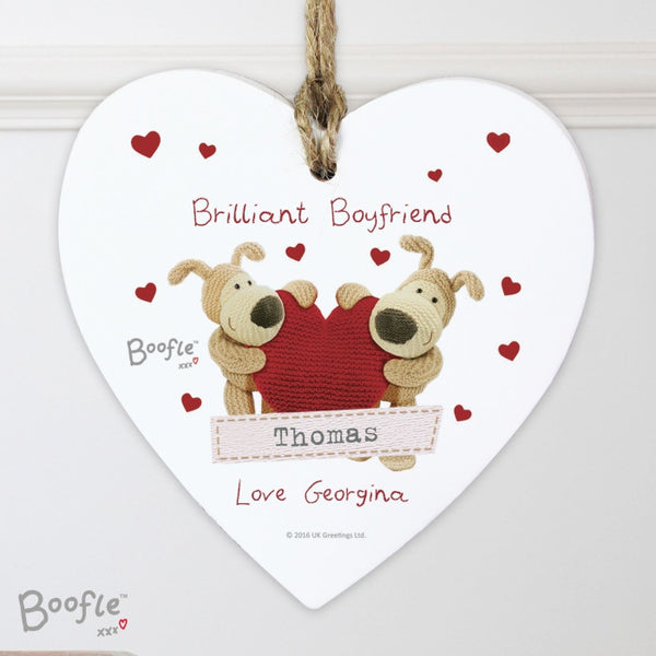 Personalised Boofle Shared Heart Wooden Heart Decoration - Shane Todd Gifts UK
