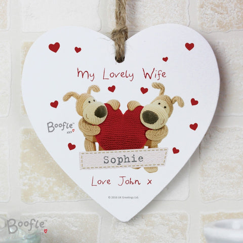 Buy Personalised Boofle Shared Heart Wooden Heart Decoration