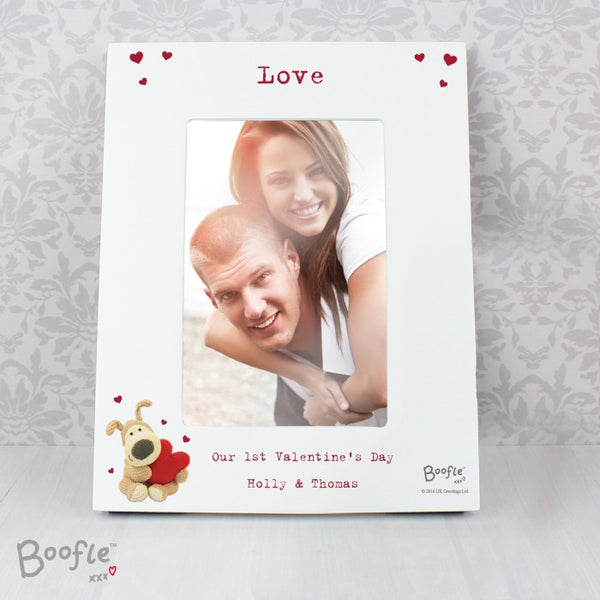 Personalised Boofle Shared Heart White 6x4 Photo Frame - Shane Todd Gifts UK