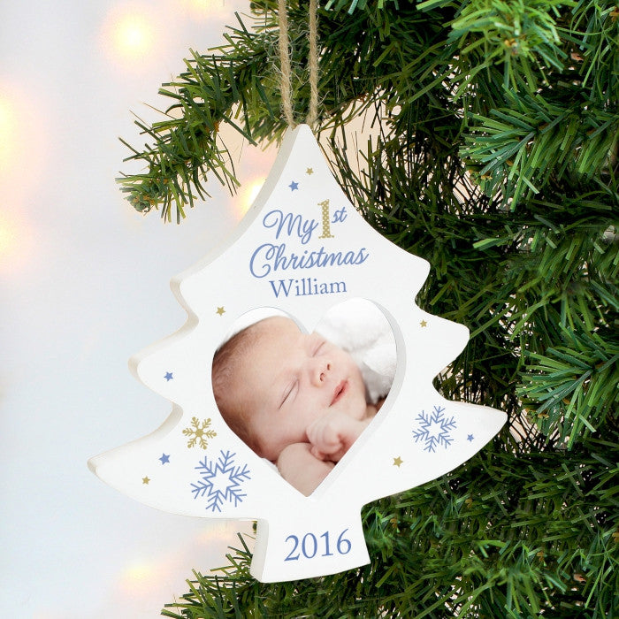 Buy Personalised Blue My 1st Christmas Tree Photo Frame Decoration