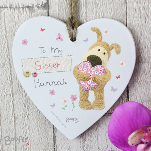 Buy Personalised Boofle Flowers Wooden Heart Decoration