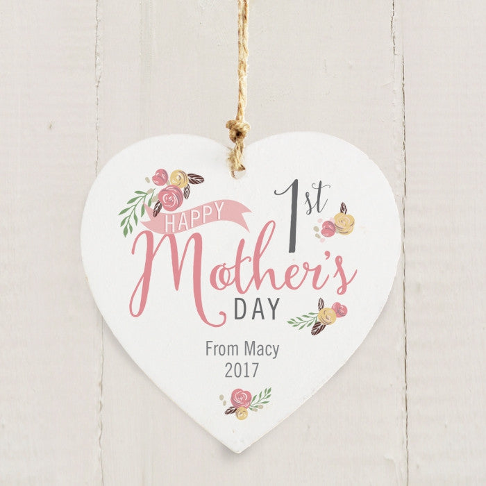 Buy Personalised Floral Bouquet 1st Mothers Day Wooden Heart Decoration