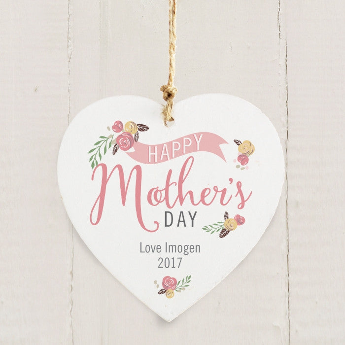 Buy Personalised Floral Bouquet Mothers Day Wooden Heart Decoration