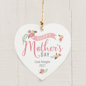 Personalised Floral Bouquet Mothers Day Wooden Heart Decoration