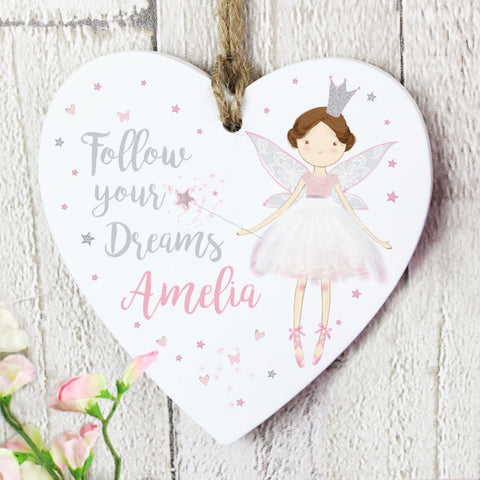 Personalised Fairy Princess Wooden Heart Decoration - Shane Todd Gifts UK