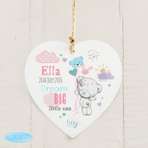 Personalised Tiny Tatty Teddy Dream Big Pink Wooden Heart Decoration - Shane Todd Gifts UK