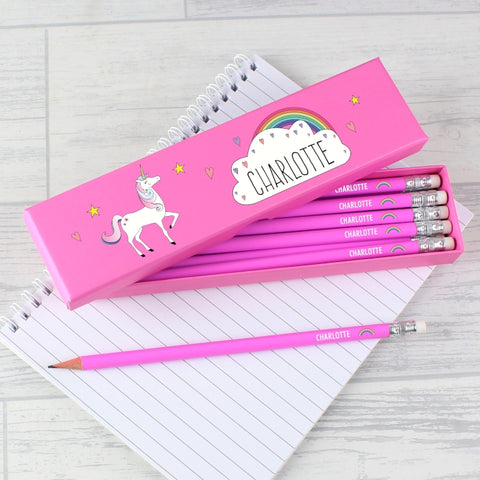 Personalised Unicorn Box of 12 Red HB Pencils