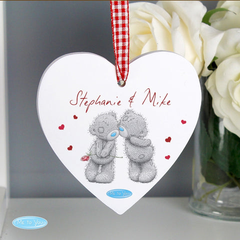Personalised Me to You Couples Wooden Heart Decoration | ShaneToddGifts.co.uk