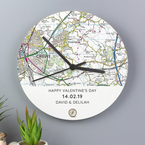 Buy Personalised Present Day Map Compass Wooden Clock