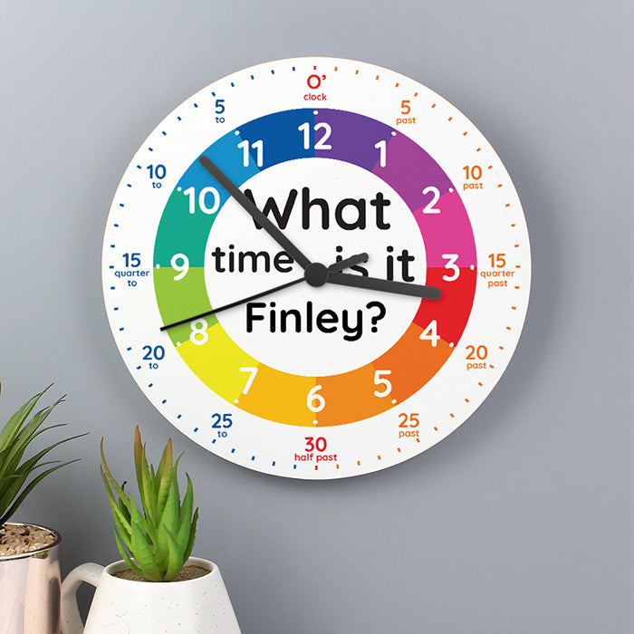 Personalised 'What time is it?' Wooden Clock