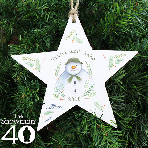 Buy Personalised The Snowman Winter Garden Wooden Star Decoration