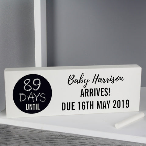 Buy Personalised Classic Chalk Countdown Wooden Block Sign
