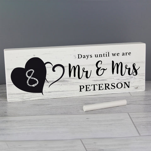 Buy Personalised Rustic Chalk Countdown Wooden Block Sign