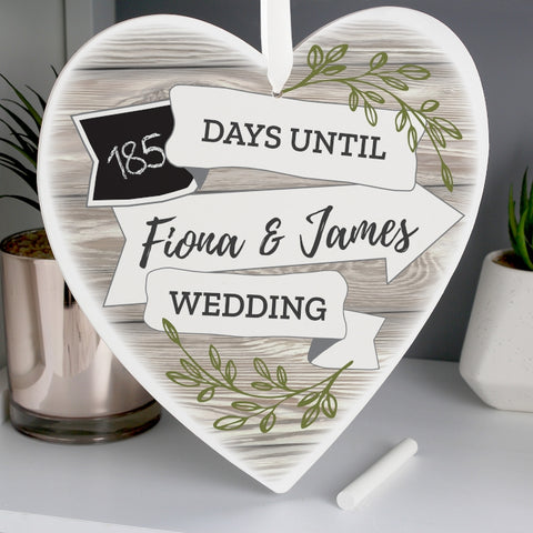 Buy Personalised White Arrow Banner Chalk Countdown 22cm Wooden Heart Decoration