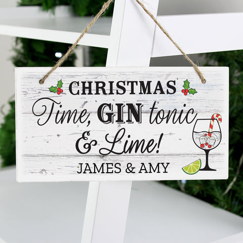 Personalised Christmas Gin Wooden Sign