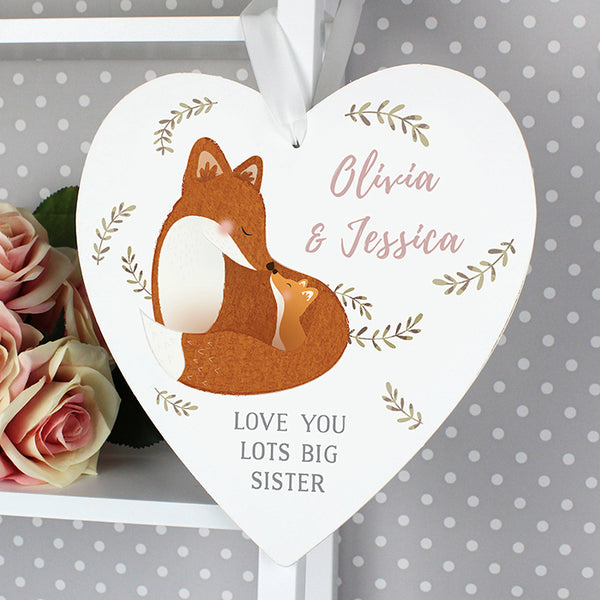 Personalised Mummy and Me Fox 22cm Large Wooden Heart Decoration