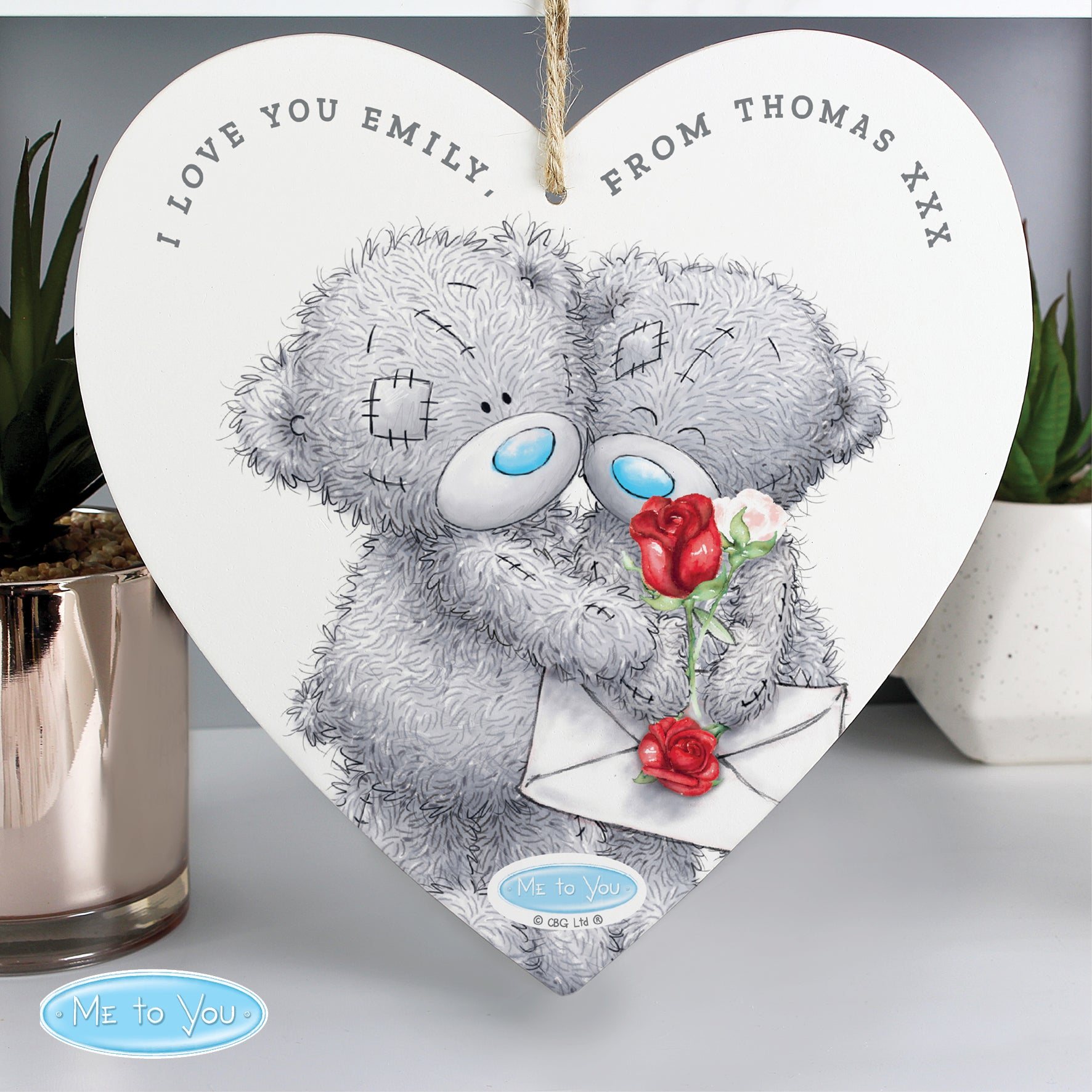 Personalised Me to You Valentine 22cm Large Wooden Heart Decoration