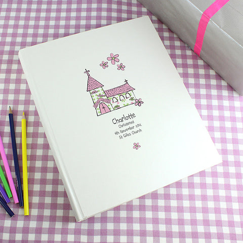Buy Personalised Whimsical Church Pink Traditional Album