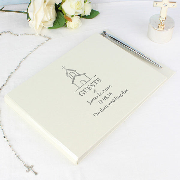personalised-hardback-guest-book-pen-church-design