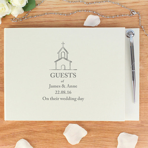 Personalised Hardback Guest Book & Pen Church Design