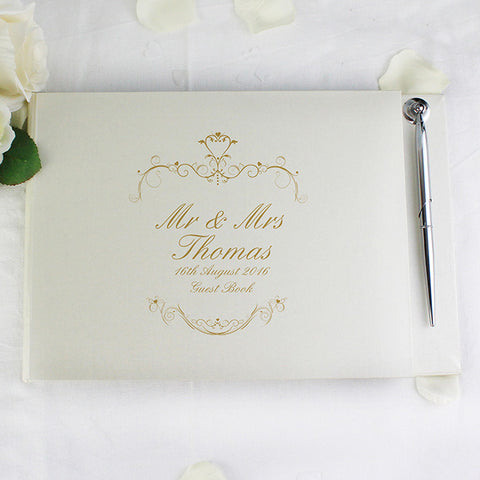 Buy Personalised Gold Ornate Swirl Guest Book & Pen