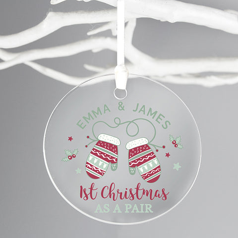 Personalised '1st Christmas as a Pair' Round Acrylic Decoration