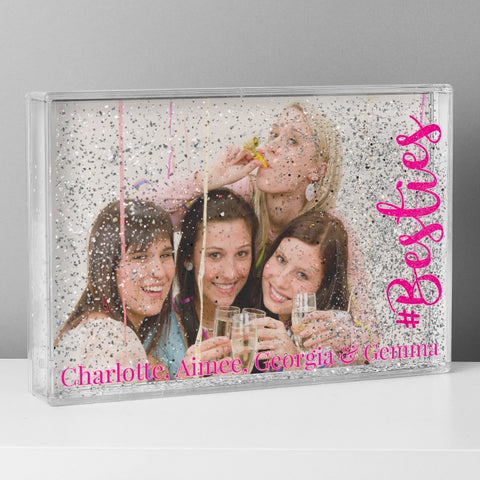 Personalised #Besties 4x6 or 6x4 Glitter Shaker Photo Frame