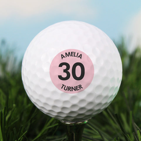 Personalised Pink Big Age Golf Ball