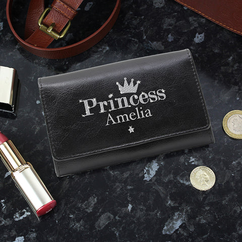 Buy Personalised Princess Black Leather Purse