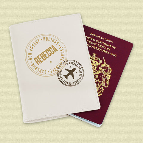 Buy Personalised Stamped Cream Passport Holder