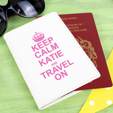 Buy Personalised Keep Calm Cream Passport Holder