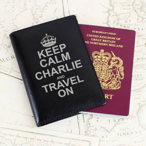 Personalised Keep Calm Black Passport Holder | ShaneToddGifts.co.uk